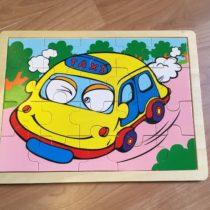 Dřevěné puzzle Taxi
