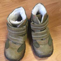 Kožené, kotníčkové, zimní boty na suchý zip