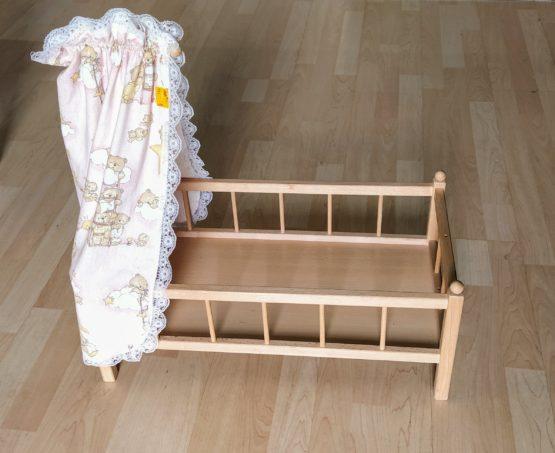 Dřevěná postýlka pro panenky + nebesa
