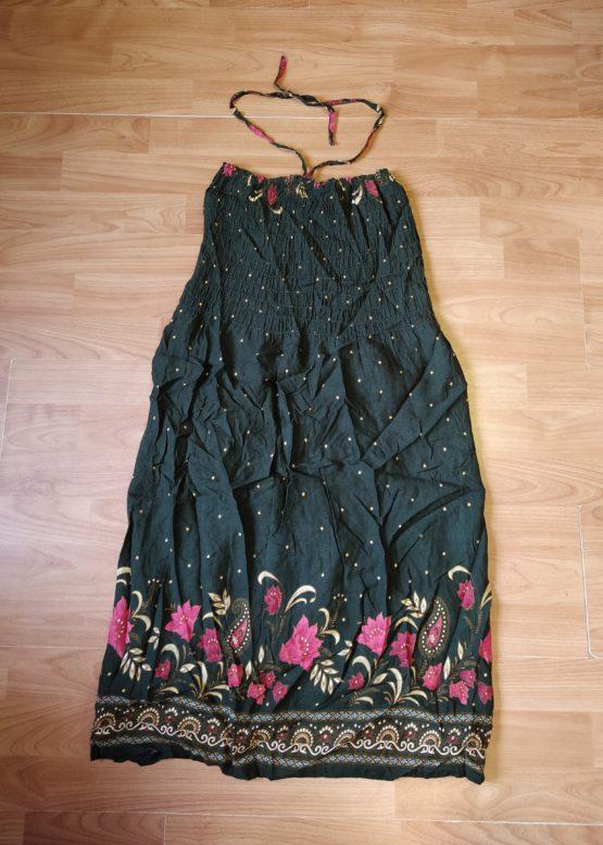 Letní šaty za krk sžabičkováním přes prsa