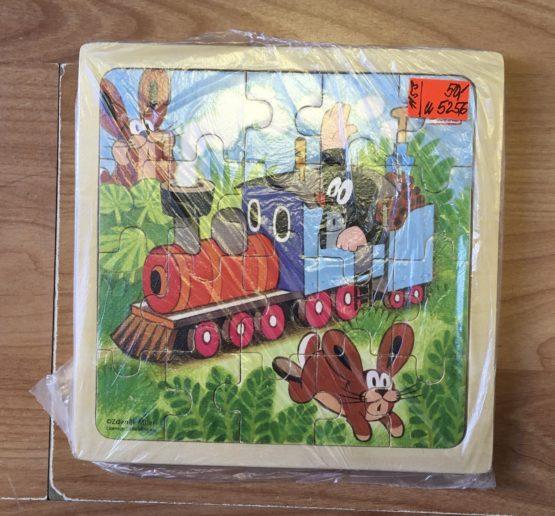 Dřevěné puzzle – Krtek ve vlaku
