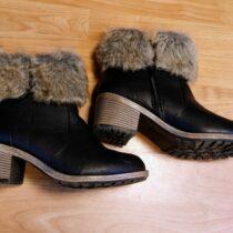 Kotníkové boty na podpatku skožíškem