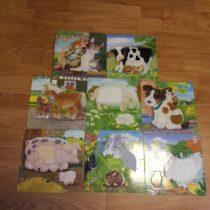 Sada papírových karet/puzzlí se zvířátky se srstí