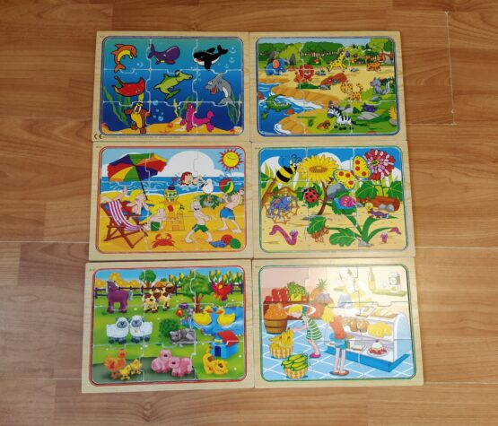 Dřevěné puzzle Tesco sada 6ks