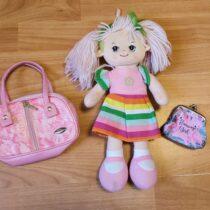 Látková panenka + kabelka + peněženka